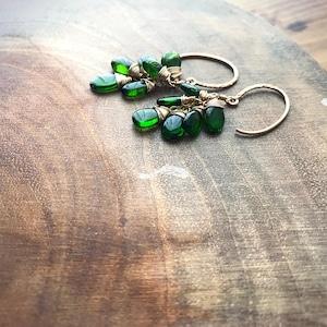 Chrome Diopside Cluster Earrings/K14 gf