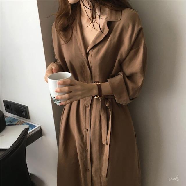 【アウター】長袖シングルブレスト無地シンプル折襟トレンチコート43007689