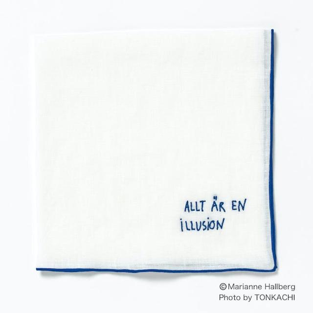 マリアンヌハルバーグ 言葉のハンカチ/ すべては幻想 リネン100% 43x43cm 日本製 MH179