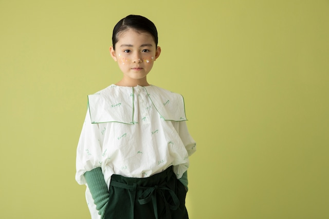 【21AW】folkmade(フォークメイド)  embroidery rogo sailor シャツ offwhite×green(S/M)