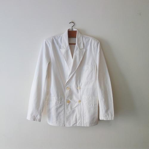 【MADE IN FRANCE】【DEADSTOCK】ホワイトワークウェア ダブルブレステッドジャケット