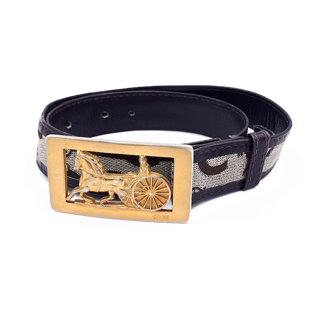 CELINE セリーヌ Cマカダム 馬車 ホースキャリッジ バックル ジャガード ベルト ベージュ vintage ヴィンテージ オールドセリーヌ Accessories mp7bkr