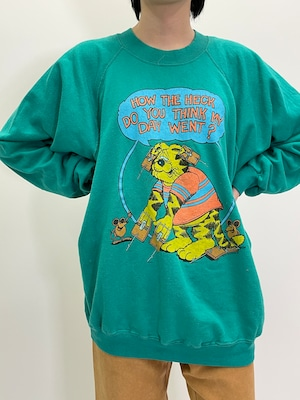 Vintage Comical Cat & Mouse Printed Sweat Shirt Made In USA