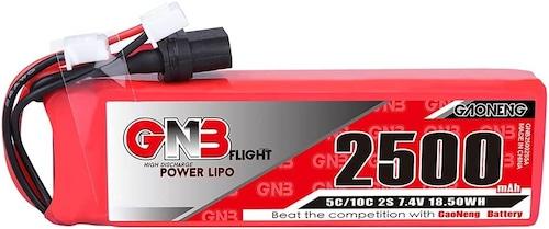 送信機or受信機電源用NH2148◆ガオニンGNB 2S2500mAh 5C 7.4V Battery  送信機用リポバッテリー に搭載可能 サイズ17(H)×29(W)×96(L)mm