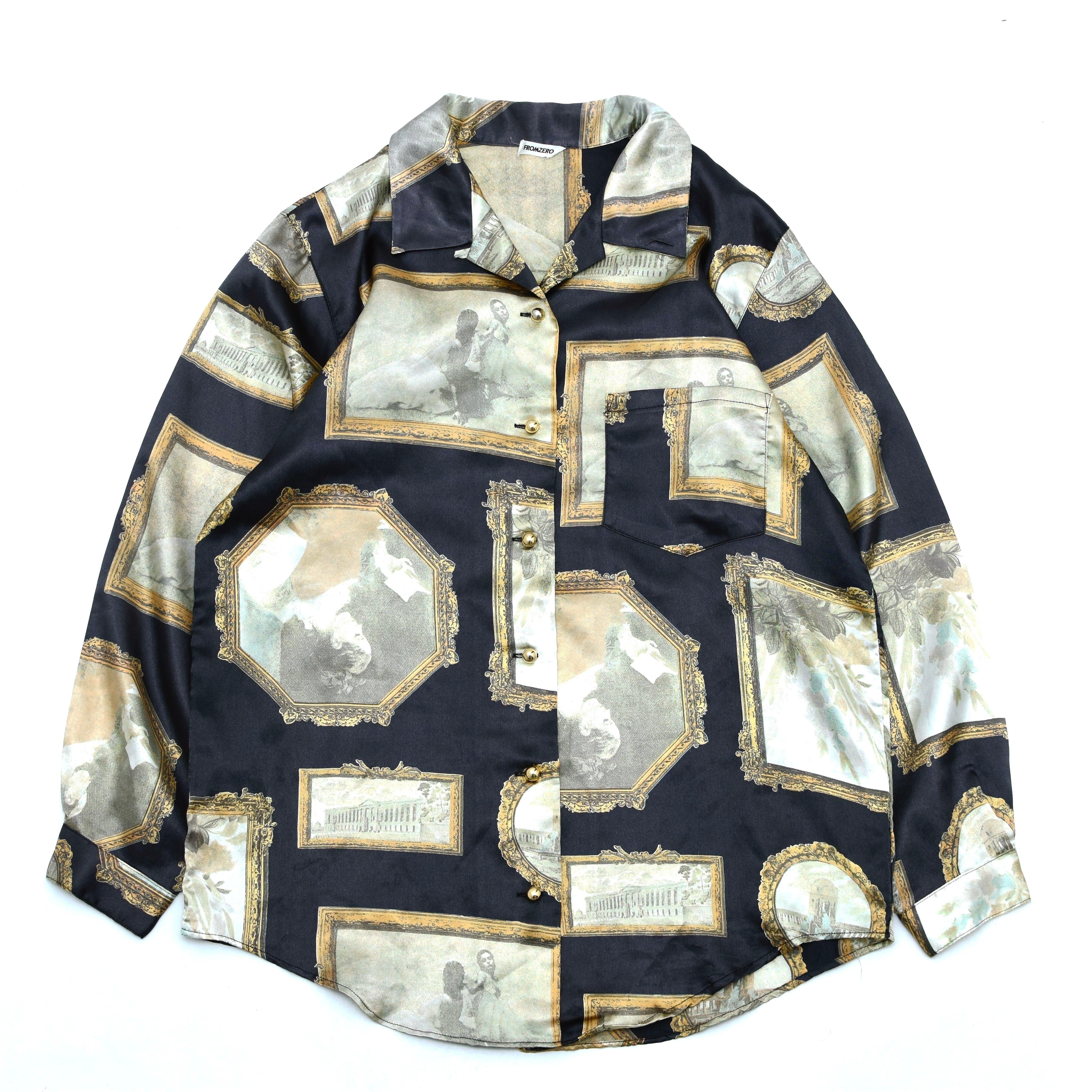 VTG art print pattern polyester shirt
