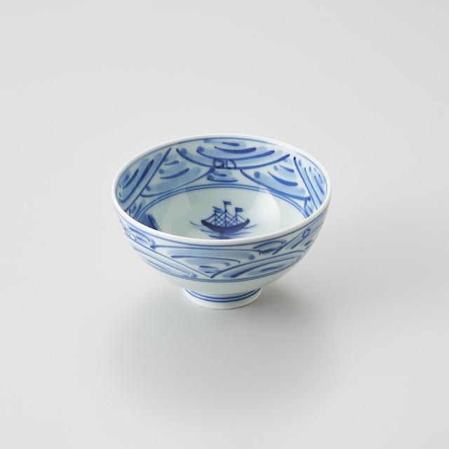 """【青花】""""長崎紋"""" 3.8寸丸飯碗"""