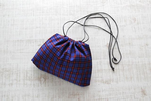 マサイチェックの巾着ショルダー|インナーバッグ / 巾着