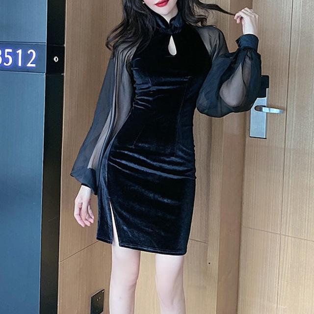 ミニチャイナドレス ベルベット 中華服 長袖 S M L LL ブラック 黒い 可愛い 切り替え 合わせやすい