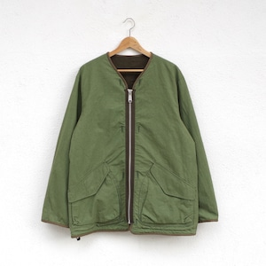 SAGE DE CRET Reversible No Collar Jacket   KHAKI