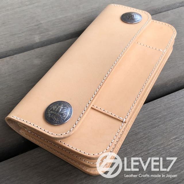 トラッカーズウォレット/ミドルウォレット Mサイズ イタリアンレザー 生成りのヌメ革使用 日本製 リアルコンチョ LEVEL7
