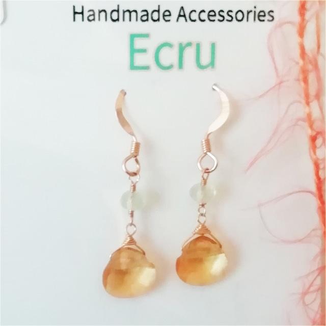 Handmade Accessories Ecru:シトリンとプレナイトのピアス イエロー
