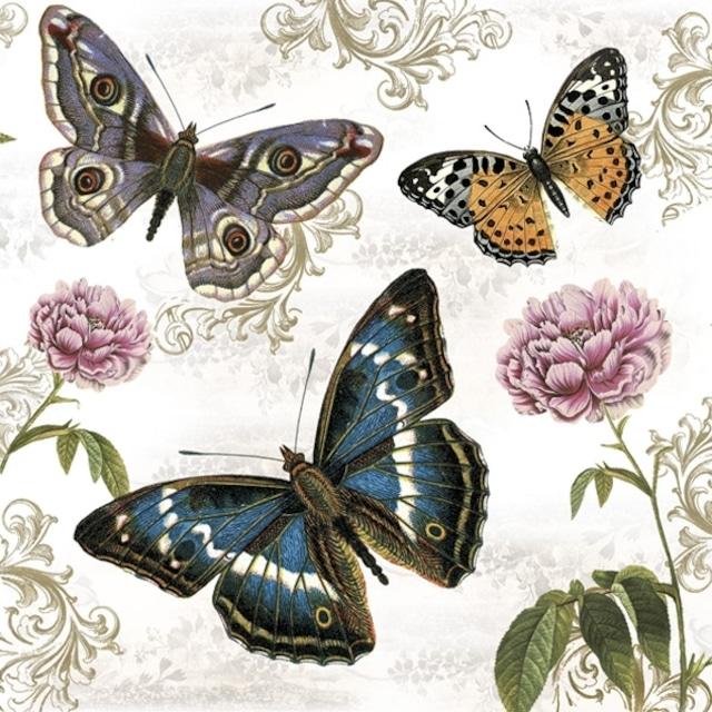 2021秋冬【Maki】バラ売り2枚 ランチサイズ ペーパーナプキン Butterflies on Retro Background ホワイト