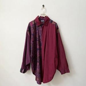 ユーロ 90年代 ITALY製 クレイジーパターン ドルマンスリーブ ビックシャツ ヨーロッパ 古着