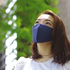 2層リネンシルクマスク ギャザータイプ /カラー:ネイビー【bionatural】