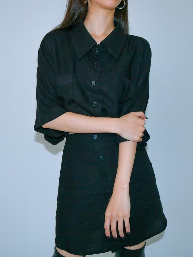 【WOMENS - 2 Size】SHORTSLEEVE CROP SHIRT / 2colors