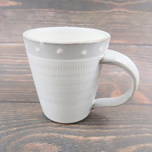 小石原焼 マグカップ トビカンナ フチグレードット 上鶴窯