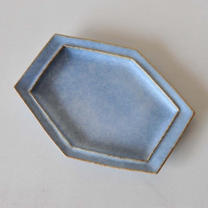 中林範夫(さんちゃ窯) 青6寸6角スリム皿(018)