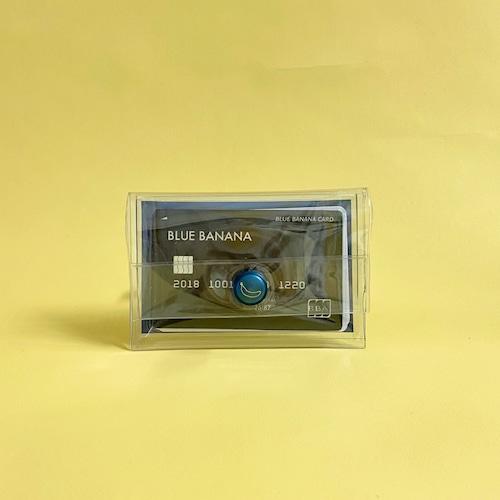 ブルーバナナパスケース/クリア×ブルーボタン