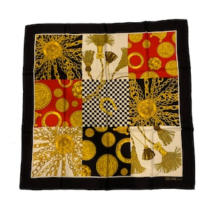 CELINE セリーヌ タッセル ホースビット スターボール スカーフ ストール ブラック レッド vintage ヴィンテージ Accessories オールドセリーヌ