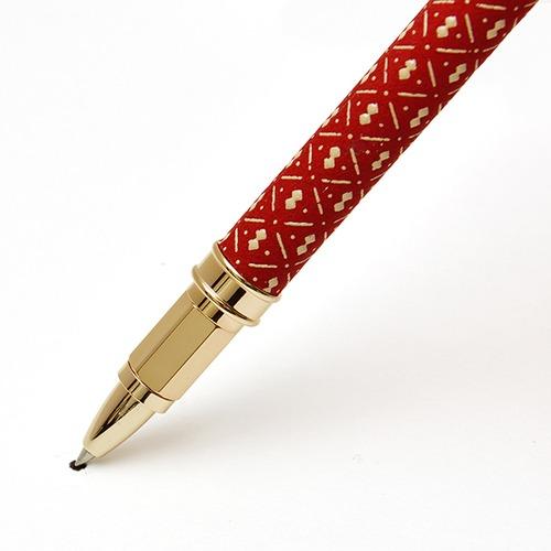 印伝水性ボールペン ひょうたん 赤革×白漆