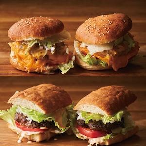 【BURGER】2種類×2個 グルメバーガーミールキット【100%牛肉パテ♪】