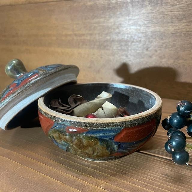 赤絵魚紋 菓子器片面(小)