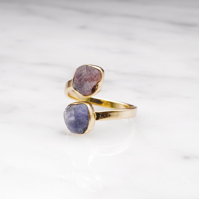 DOUBLE DIFFERENT STONE OPEN RING 002