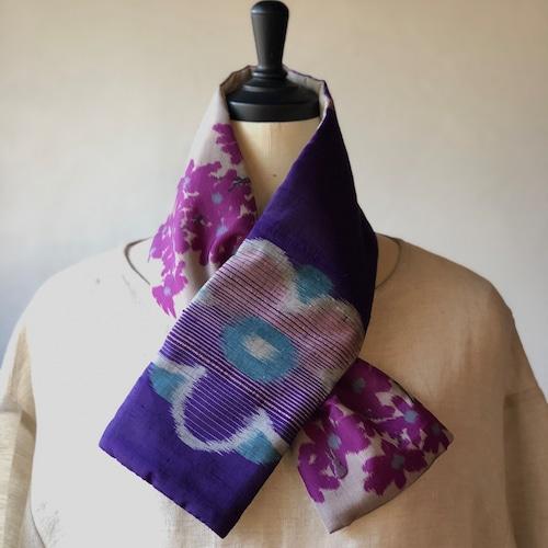 銘仙×リネン刺繍の小さな襟巻き2010/八月のうさぎ 着物 古布 リメイク ストール プチマフラー ネックウォーマー