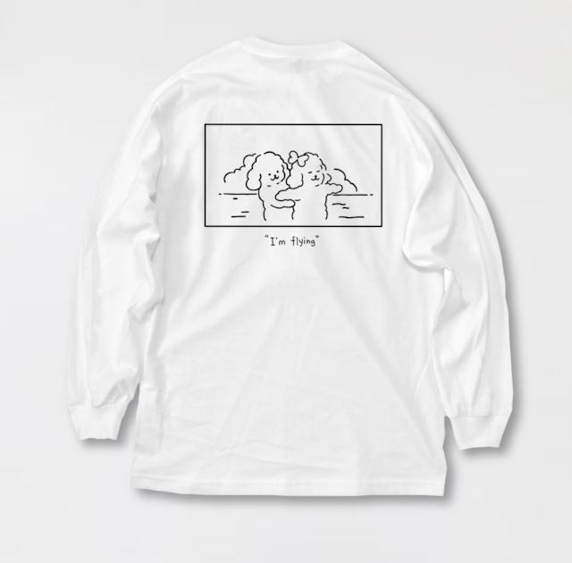 """I'm flying"" Long t-shirt Black line"