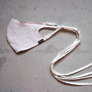 2層リネンシルクマスク ロングリボンタイプ /カラー:ホワイト【bionatural】
