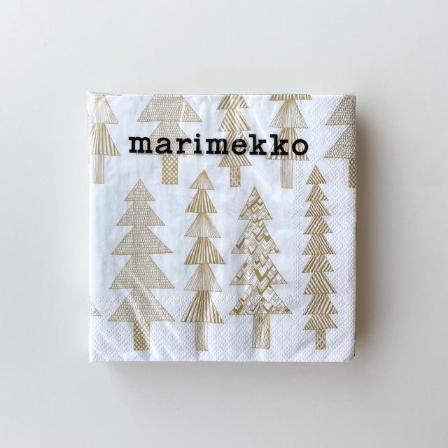 2021秋冬【marimekko】ランチサイズ ペーパーナプキン KUUSIKOSSA ホワイトxゴールド 20枚入り