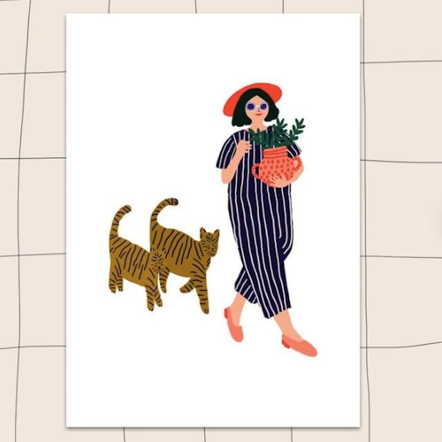 "Jennifer Bouron ""Girl walking with the cat"" Postcard"
