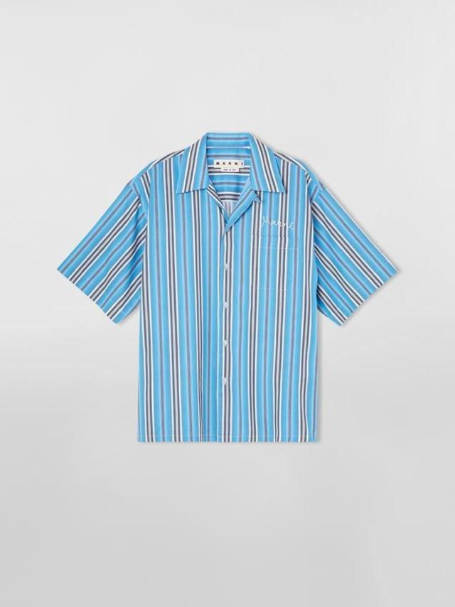 MARNI COTTON BOIL S/S STRIPE SHIRTS BLUE