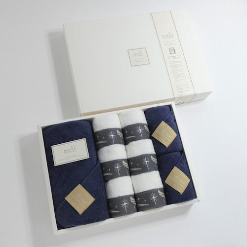 Star Premium Navy & Twinkle GRAY 無撚糸(むねんし)高級Bath×Face×Hand Towel SET Star Navy / Star Navy  / Twinkle GRAY