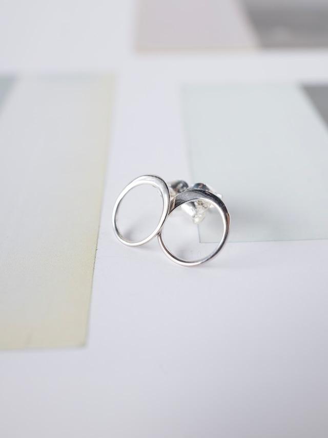 ◯ Circle Stud Earrings 10mm / Silver - 012