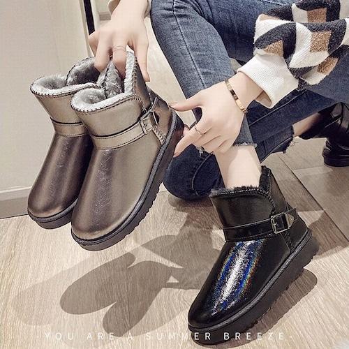 ムートンブーツ ファーブーツ パテントレザー ベルト 防寒 23.0〜25.0cm 韓国ファッション レディース ファー ブーツ もこもこ 631047880805