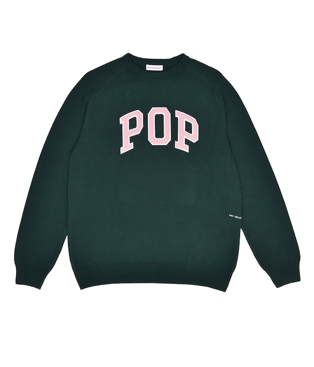 POP TRADING COMPANY ARCH KNITTED CREWNECK BISTRO GREEN