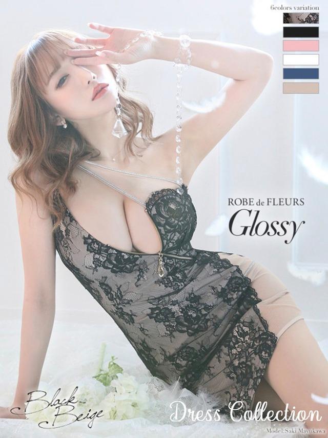 【ROBE de FLEURS Glossy】ストレッチタイトミニドレス(GL2196)
