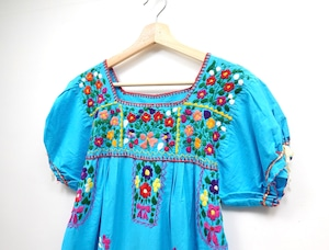 Hand embroidered Mexican dress BLUE