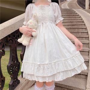 半袖ワンピース ロリータ服 レース レースアップ 白 ロリータ衣装 ドレス 可愛い ワンピース フリル 学生 lolita 8603