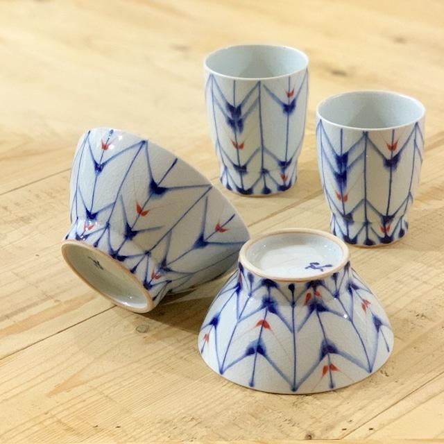 呉須流矢羽根  ご飯茶碗 湯呑み