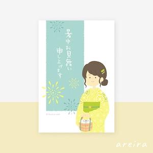 【暑中見舞い】レモンと麻の葉柄が爽やかな浴衣姿の女の子