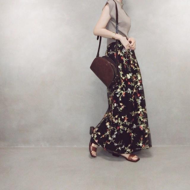 花刺繍チュールラップSK/ブラック