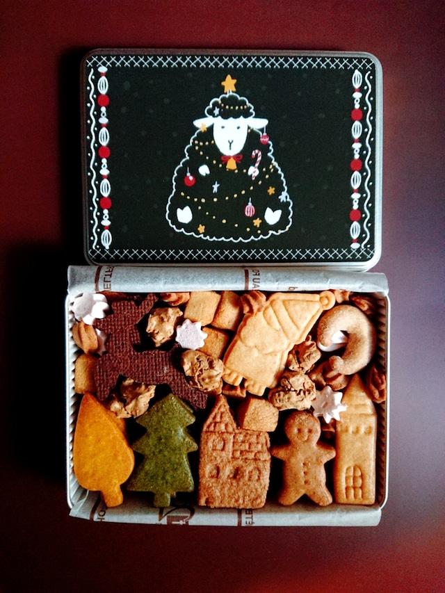 ひつじ組のクッキー缶・クリスマス