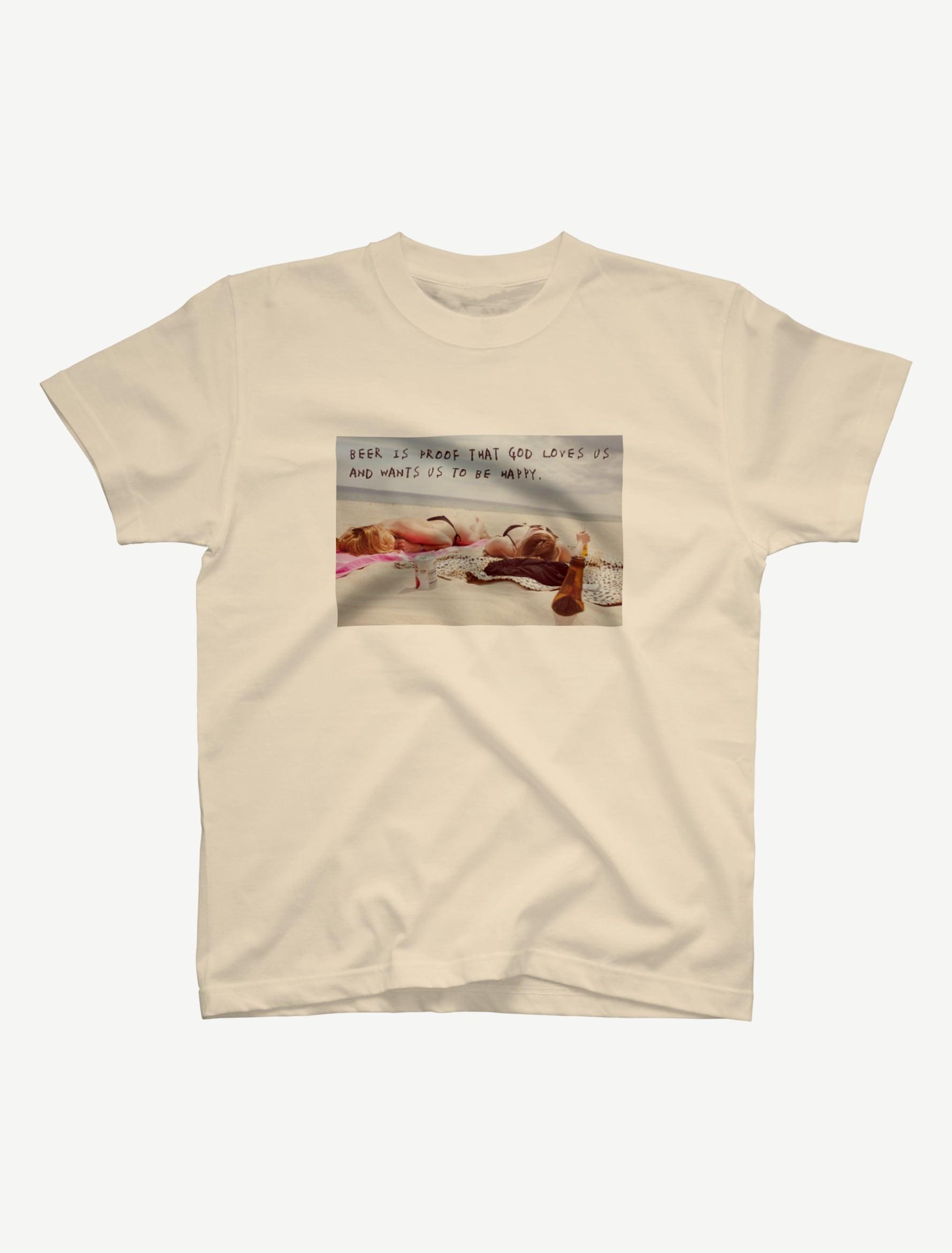 【悩み無用の開放ビーチ】Tシャツ(ナチュラル)