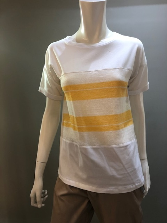 H.A.N.D 34900 Col.bco+425 麻ニット素材との組み合わせTシャツ イタリア製