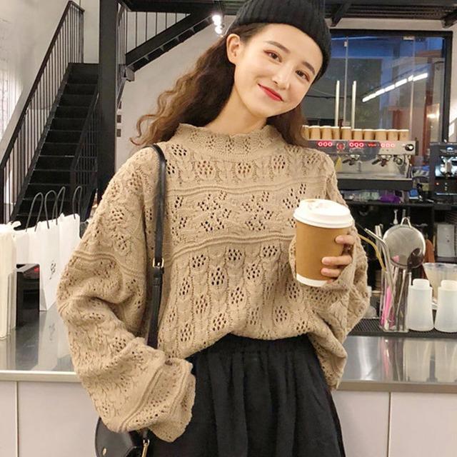 【トップス】シンプルラウンドネックプルオーバー長袖透かし彫りセーター43008082