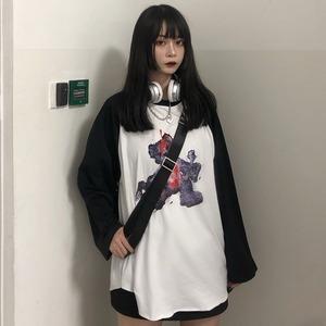 【トップス】ホラー風長袖切り替えプリントラウンドネックプルオーバーTシャツ42915539