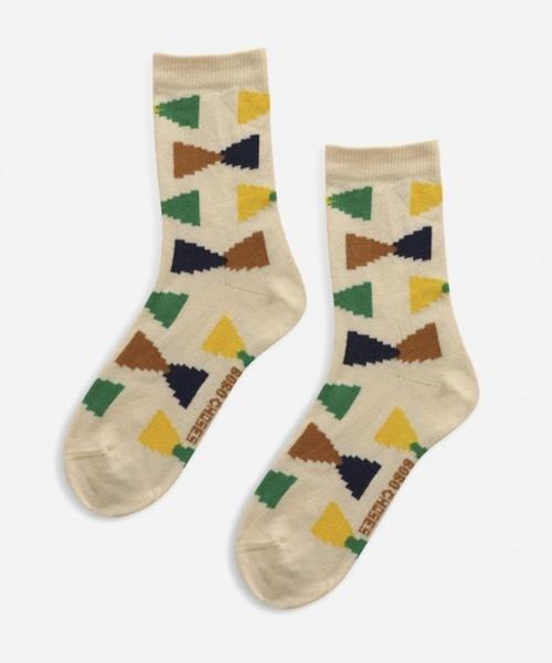 【Bobo Choses】Ecru Geometric short socks