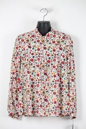 レッド系小花柄・ミニスタンド襟ブラウス